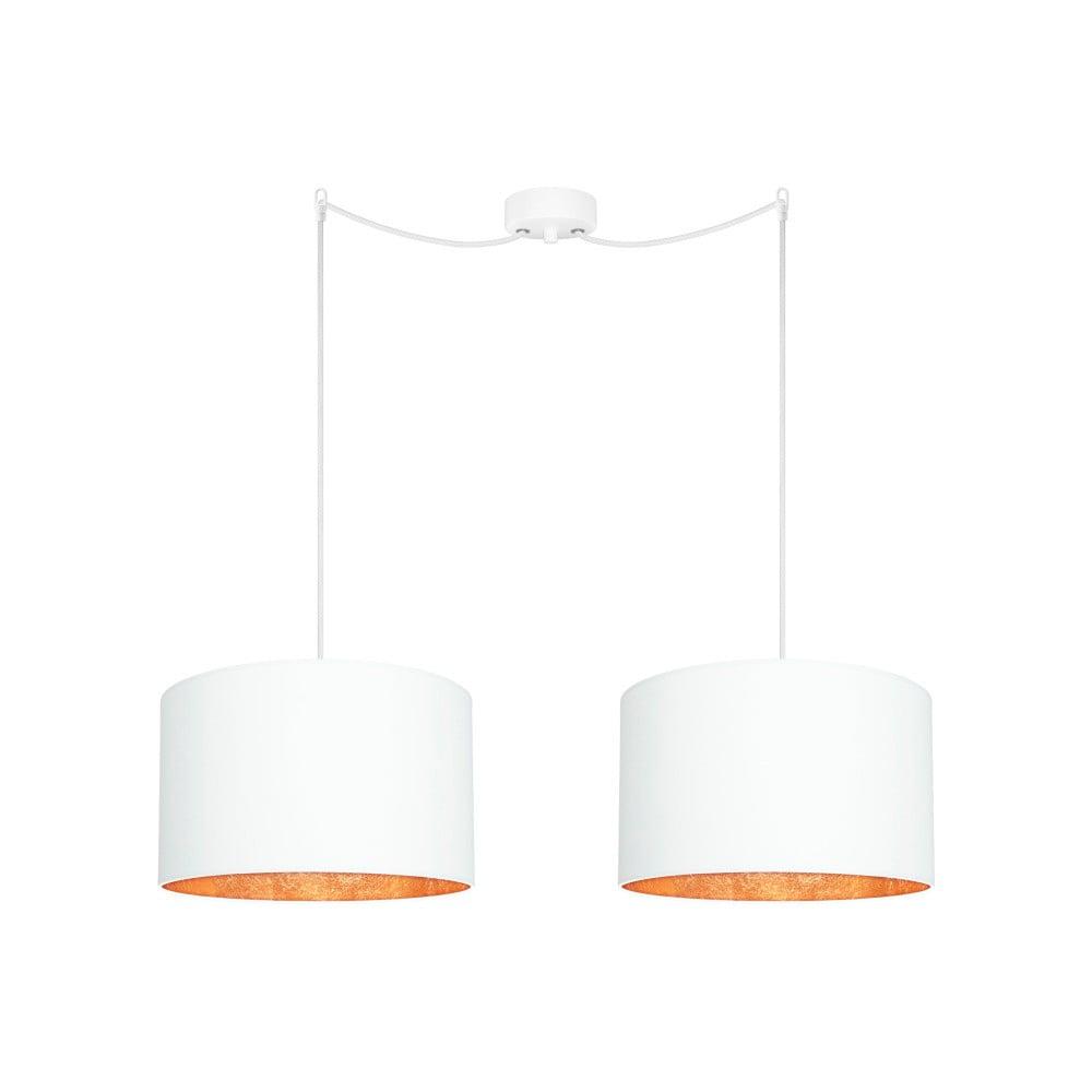 Biała podwójna lampa wisząca z elementami w kolorze brązu Sotto Luce MIKA Elementary