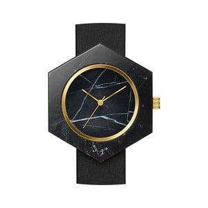 Czarny sześciokątny marmurkowy zegarek z czarnym paskiem Analog Watch Co.