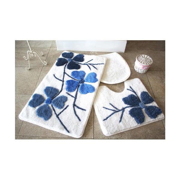 Zestaw 3 niebiesko-białych dywaników łazienkowych Confetti Bathmats Flowers