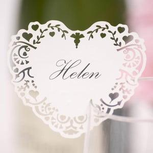 Zestaw 10 białych etykietek imiennych na szklanki Neviti Vintage Romance