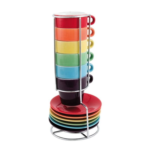 6 filiżanek ze spodkami na stojaku Espresso Rainbow