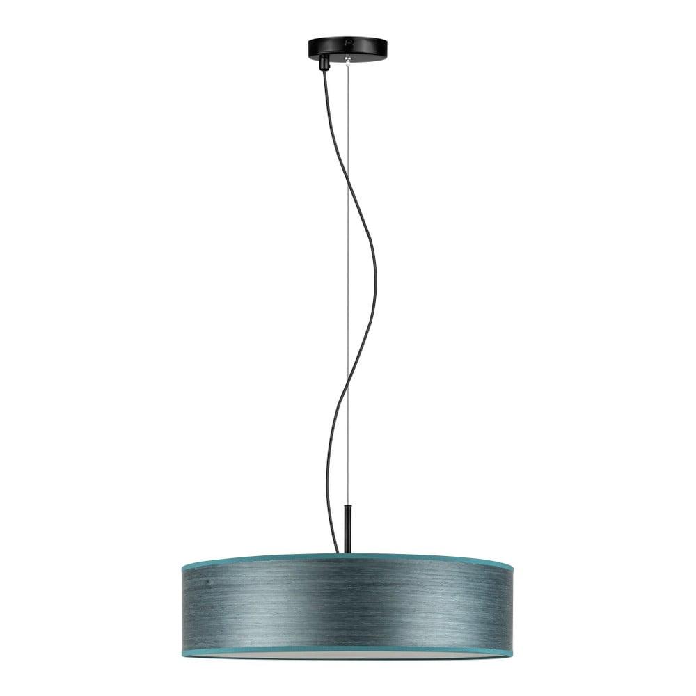 Szaroniebieska lampa wisząca z abażurem z naturalnego forniru Bulb Attack Ocho
