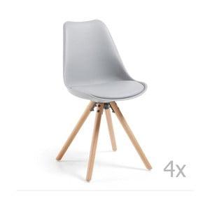 Zestaw 4 szarych krzeseł do jadalni z drewnianymi nogami La Forma Lars