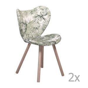 Zestaw 2 wzorzystych krzeseł z drewnianymi nogami DAN– FORM Butterfly