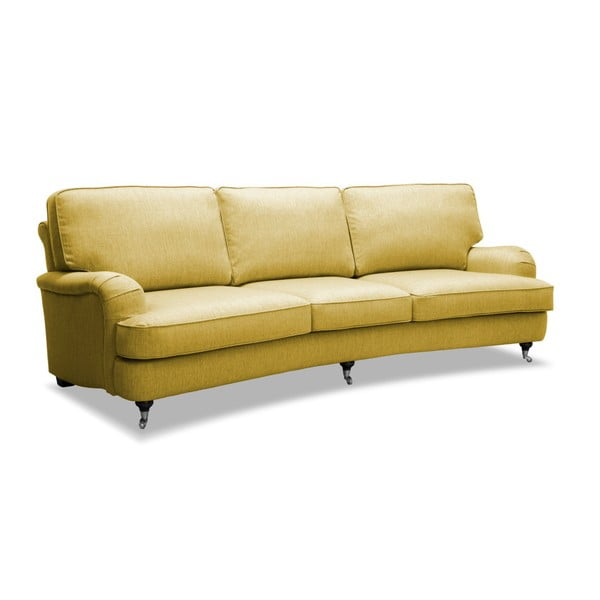 Żółta sofa 3-osobowa Vivonita William