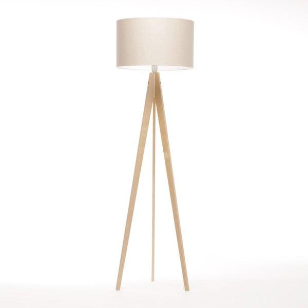 Kremowa lampa stojąca Artista, naturalna brzoza, 150 cm