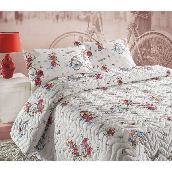 Pikowana narzuta i 2 poszewki na poduszki Rosie White, 200x220 cm