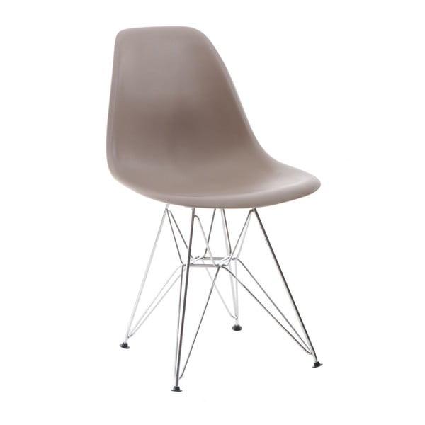 Szare krzesło D2, chromowe nogi