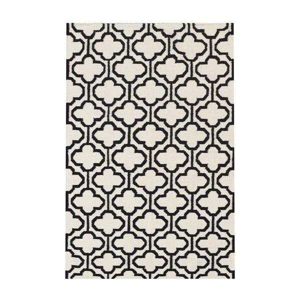 Dywan wełniany Penelope Ivory Black, 140x200 cm