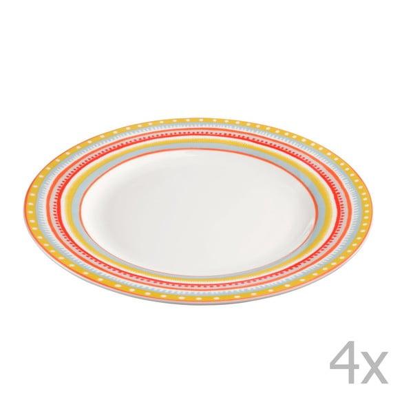 Komplet 4 talerzyków porcelanowych Oilily 22 cm, żółty