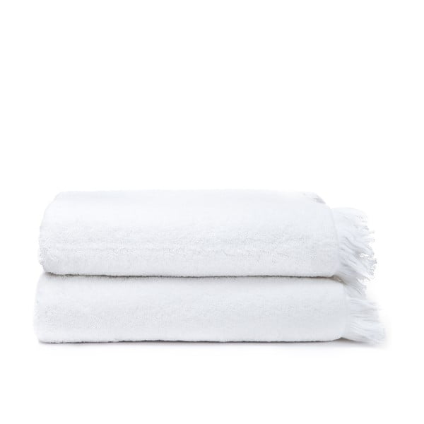 Komplet 2 białych ręczników kąpielowych z bawełny Casa Di Bassi Bath, 100x160 cm