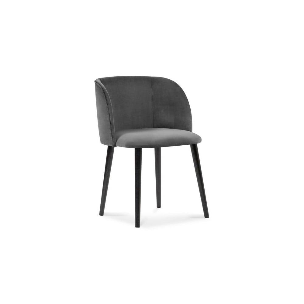 Ciemnoszare krzesło z aksamitnym obiciem Windsor & Co Sofas Aurora