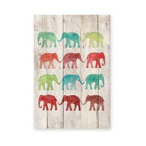 Drewniana tablica Elephants