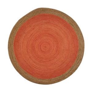 Pomarańczowy dywan odpowiedni na zewnątrz z juty Native, ⌀ 120 cm