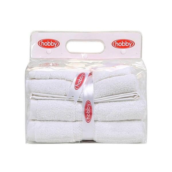 Zestaw 3 białych ręczników Rainbow