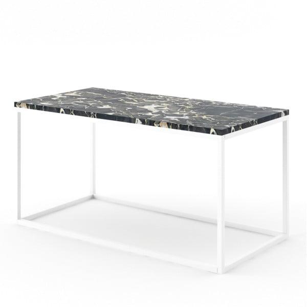 Czarny stolik z marmuru z białą konstrukcją Absynth Noi Italy, duży