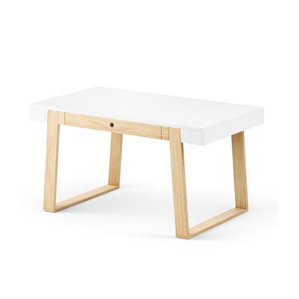 Stół dębowy z białym blatem Absynth Magh, 140 x 80 cm