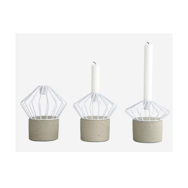 Zestaw trzech świeczników Wire, white