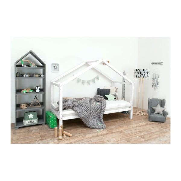Białe łóżko dziecięce z lakierowanego drewna świerkowego Benlemi Sidy, 80x160 cm