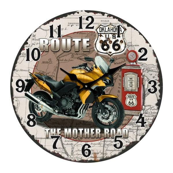 Szklany zegar The Mother Road, 38 cm