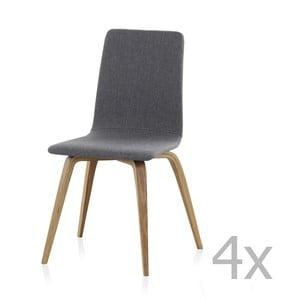Zestaw 4 drewnianych krzeseł z obiciem Geese