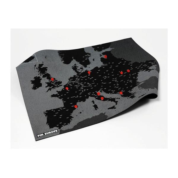 Czarna mapa ścienna Europy Palomar Pin World, 100x80cm