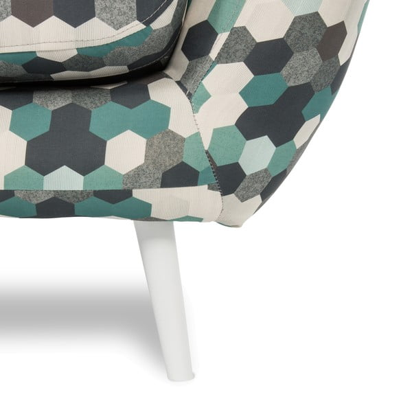 Sofa dwuosobowa Omnia Green, białe nóżki