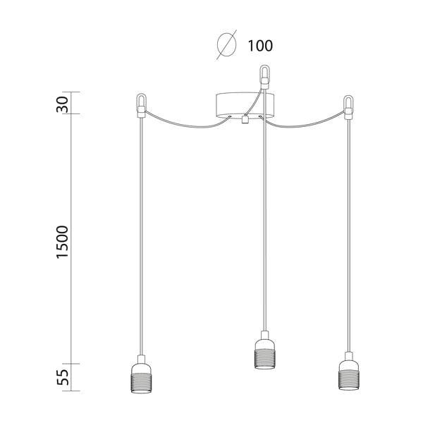 Lampa wisząca z 3 czarnymi kablami i oprawą żarówki w kolorze srebra Bulb Attack Uno Basic