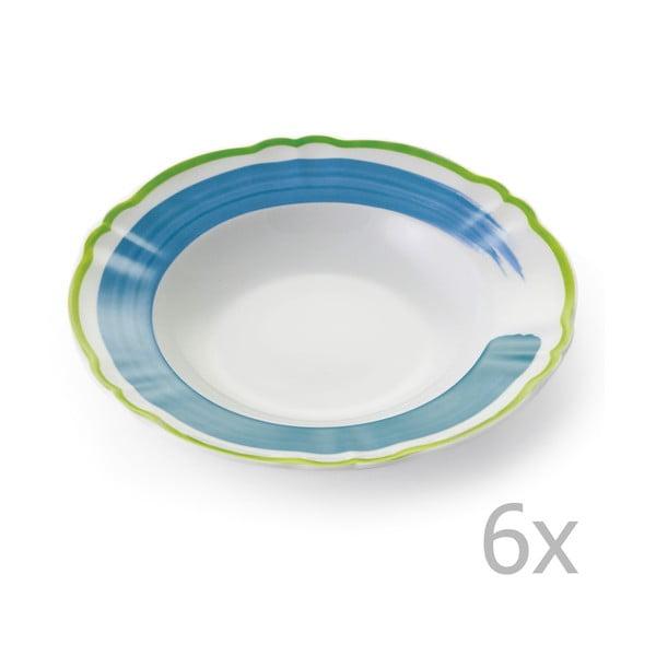 Zestaw 6 głębokich talerzy Giotto Green/Turquoise