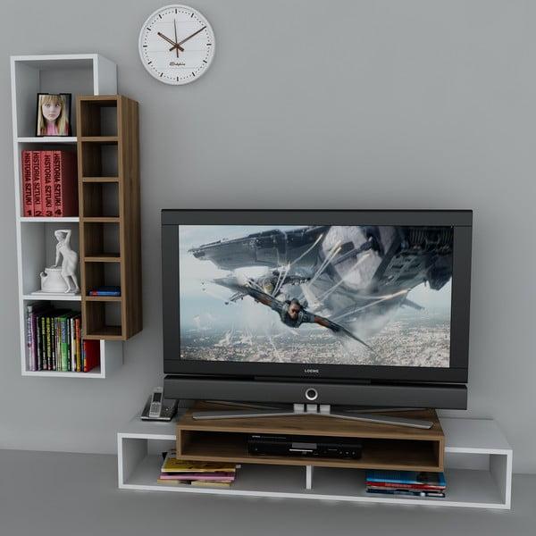 Stolik telewizyjny First TV Stand White/Walnut