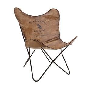 Brązowy fotel skórzany InArt Benedita