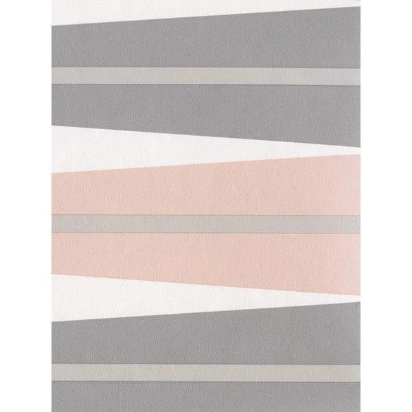 Fizelinowa tapeta Suites 0,53x10,05 m, łososiowy i szary