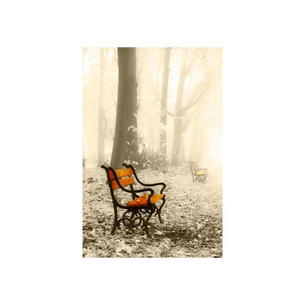 Obraz na szkle Zimowa ławka, 40x60 cm
