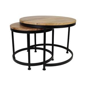 Zestaw 2 stolików z drewna mangowego HSM Collection Sanndine