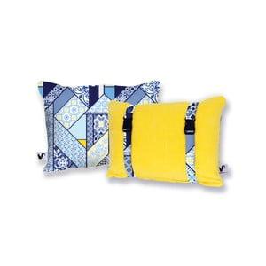 Żółta dwustronna poduszka plażowa Origama Lisboa