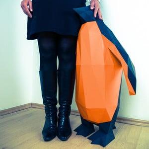 Papierowa rzeźba Pingwin XL, czarno-pomarańczowa
