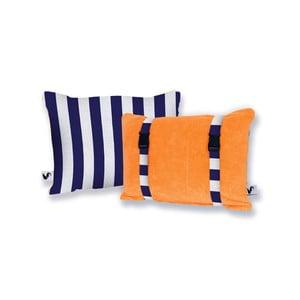 Pomarańczowa dwustronna poduszka plażowa Origama Blue Stripes