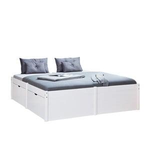 Białe drewniane łóżko dwuosobowe 13Casa Boss, 140x200cm
