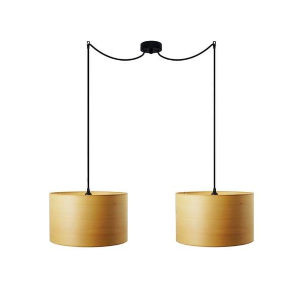 Podwójna lampa wisząca w kolorze drewna bukowego Sotto Luce TSURI