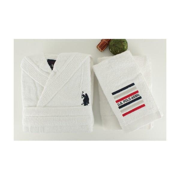 Zestaw damskiego szlafroka i 2 ręczników US Polo Lutsen White, roz. S