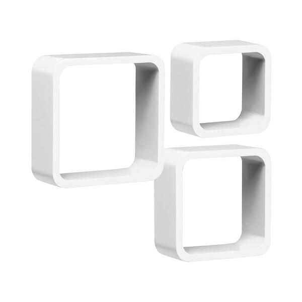 Zestaw 3 półek Cubes, białe