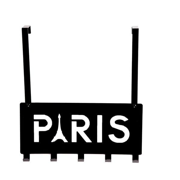 Czarny wieszak na drzwi z 5 haczykami Compactor Paris