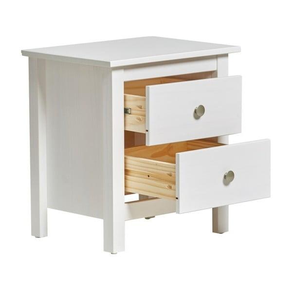 Biała szafka nocna z litego drewna sosnowego z 2 szufladami Marckeric Berna