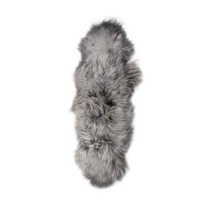Szary dywan futrzany z długim włosiem Dara, 165x55cm