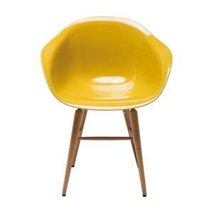 Żółte krzesło do jadalni Kare Design Armlehe Forum