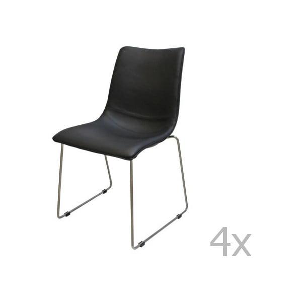Zestaw 4 czarnych krzeseł Canett Delta