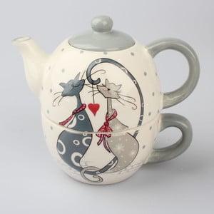 Ceramiczny komplet do herbaty Dakls Cats Couple