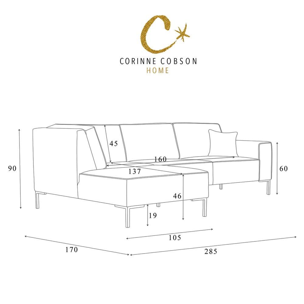 grafitowa naro na sofa corinne cobson blackbird lewy r g bonami. Black Bedroom Furniture Sets. Home Design Ideas