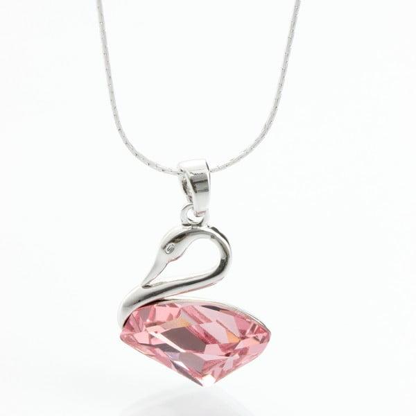 Naszyjnik ze Swarovski Elements, różowy łabądź