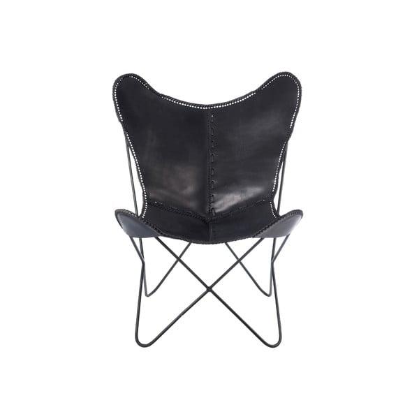 Czarny fotel skórzany fotel J-Line Lounge